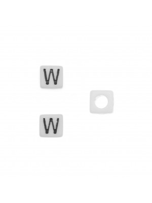 """Distanziatore quadrato in resina con disegno lettera """"W"""", 7 mm."""