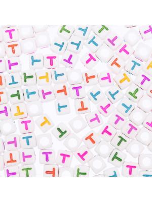 """Distanziatore a Cubo con disegno lettera """"T"""", 7mm., in resina bianca e lettera colorata"""