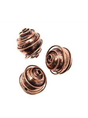 Distanziatore a palla liscia con spirale attorno, 12 mm.