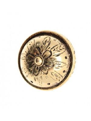 Distanziatore tondo piatto gigante con disegno fiore centrale, 34x25 mm.