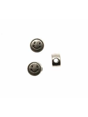 Distanziatore tondo piatto liscio, con disegno smile, 7x4 mm.