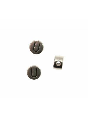 """Distanziatore tondo piatto liscio, con disegno lettera """"U"""", 7x4 mm."""