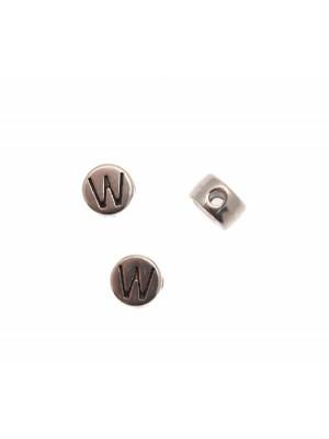 """Distanziatore tondo piatto liscio, con disegno lettera """"W"""", 7x4 mm."""