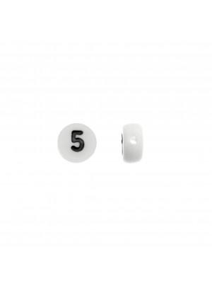 """Distanziatore in resina con disegno numero """"5"""", 7 mm."""