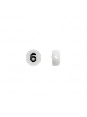 """Distanziatore in resina con disegno numero """"6"""", 7 mm."""