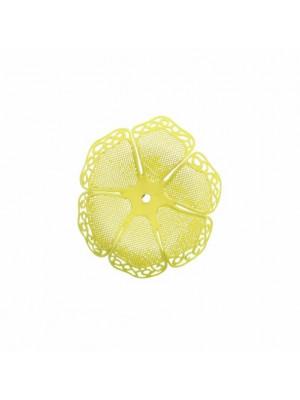 Filigrana a forma di fiore a sei petali traforati e ondulati, colore Giallo fluo effetto gommoso