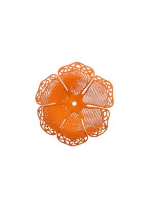 Filigrana a forma di fiore a sei petali traforati e ondulati, colore Arancione fluo effetto gommoso
