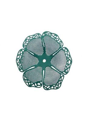 Filigrana a forma di fiore a sei petali traforati e ondulati, colore Petrolio chiaro effetto gommoso