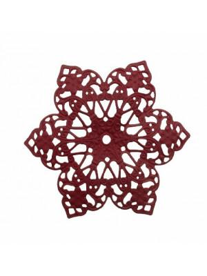 Filigrana a forma di fiore a sei petali, base in ottone, 63 mm., colore Bordeaux effetto gommoso