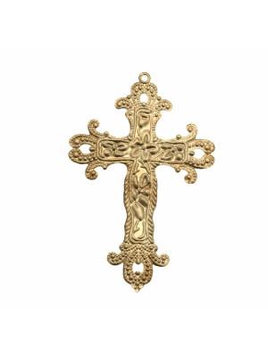Filigrana a forma di croce, piatta, con anello in alto, 40x60 mm.