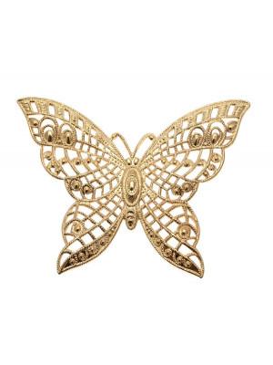 Filigrana a forma di farfalla, leggermente bombata, traforata, 65x48 mm.