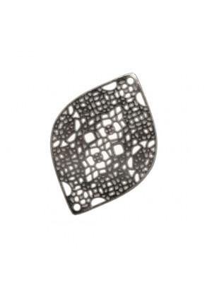 Filigrana ovale allungata a punte, sottile e traforata, 16x23 mm.