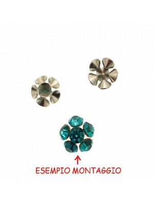 Filigrana porta strass a forma di mezza sfera, diametro 13 mm. alta 6 mm.