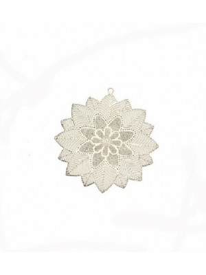 Filigrana tonda piatta sottile, con fiore centrale e foglie a raggiera, con anello in alto, 25x26 mm.