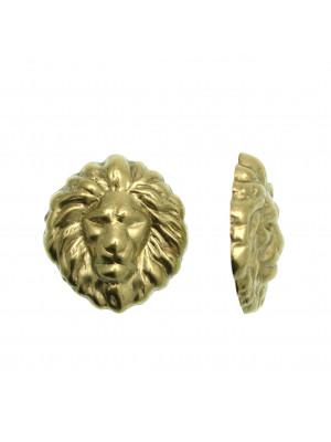 Filigrana a forma di testa di leone, tridimensionale, 27x30 mm.