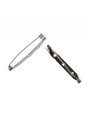 Spilla da incollo o da cucito a barra con 3 fori 45 mm. Base Argentato Rodio