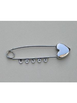 Spilla da balia con lavorazione in punta a cuore e 5 anelli 55 mm.