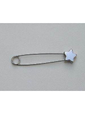 Spilla da balia con lavorazione in punta a stella 55 mm.