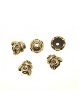 Terminale per cordoncini o copri nodo, a forma di coppetta bombata barocca, 11x12 mm.