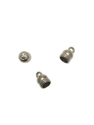 Terminale in resina galvanizzata per cordoncini a forma di coppetta liscia, e con un anello finale, 10x15 mm.