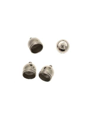 Terminale in resina galvanizzata per cordoncini a forma di coppetta liscia, e con un anello finale, 14x17 mm.