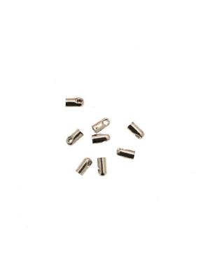 Terminale per cordoncini a forma di tubo liscio con anello finale, 3,2x6,2 mm.