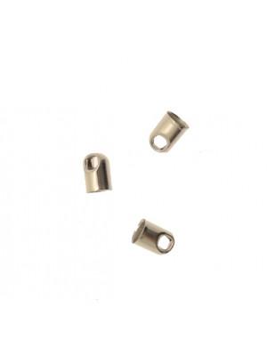 Terminale per cordoncini a forma di tubo liscio con anello finale, 7x5 mm.