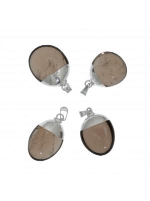 Ciondolo irregolare di pietra dura, colore Quarzo Fumé, 15-20x28-33 mm, base colore Argento Rodio