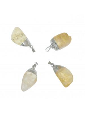Ciondolo irregolare di pietra dura, colore Beige Dorado, 15x32-35 mm, base colore Argento Rodio
