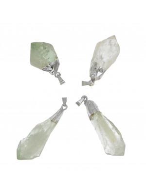 Ciondolo irregolare di pietra dura, colore Giada Semi-trasparente, 14-17x33-49 mm, base colore Argento Rodio