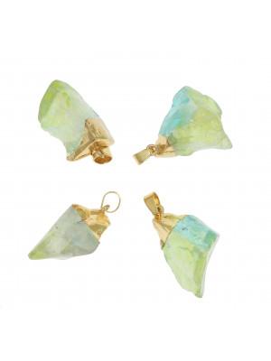 Ciondolo irregolare di pietra dura, colore Verde Ab, 16-25x33-37 mm, base colore Oro Lucido