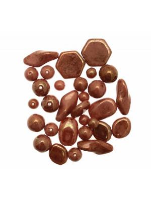 Mix Perline Marrone Rosato in vetro particolare