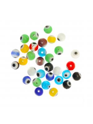 Mix Perline, in vetro, tonde, 6mm., disegno occhio, colori misti