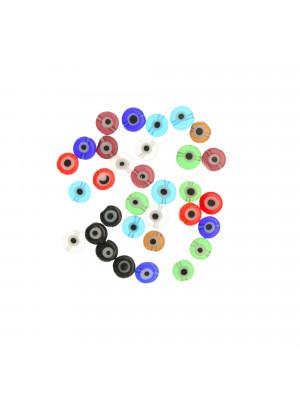 Mix Perline, in vetro, tonde piatte, 6mm., disegno occhio, colori misti