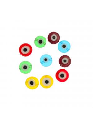 Mix Perline, in vetro, tonde piatte, 10mm., disegno occhio, colori misti