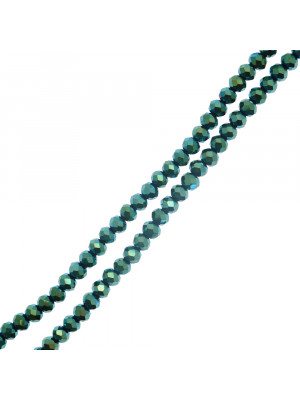 Filo di Rondelle, in Cristallo, 4x3 mm., colore VERDE METAL
