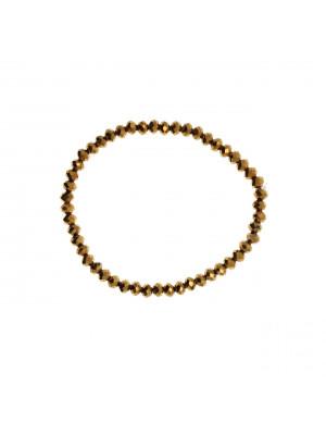 Bracciale di Rondelle, in Cristallo, 4x3 mm., colore DORADO