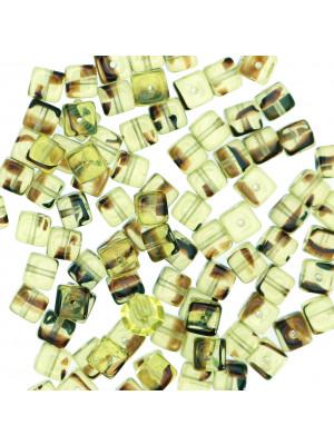 Cubo, 5x7 mm., Verde Oliva chiaro striato in Marrone