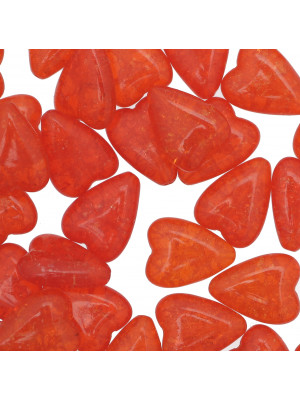 Cuore lungo scoppiato, 13x17 mm., Arancione trasparente