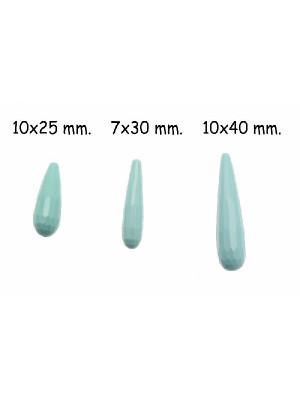 Goccia allungata in vetro sfaccettato, effetto pietra dura, con foro passante, colore Turchese