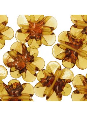 Fiore piatto, 28 mm., Topazio con rame interno