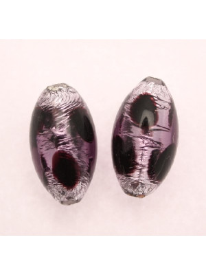 Oliva, 22x12 mm., Viola a pois con Argento 925