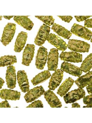 Oliva 4 facce, 14x8 mm., Verde oliva con foglia oro zecchino