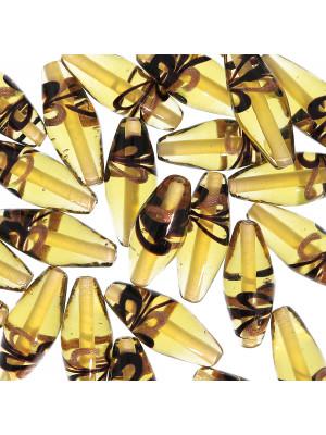 Oliva lunga, 25x10 mm., Topazio chiaro con bronzo e nero