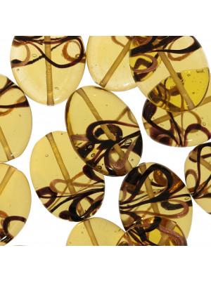 Ovale piatto, Topazio chiaro con bronzo e nero