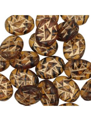Ovale piatto, 13x20 mm., Marrone con oro