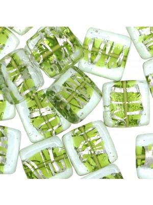 Quadro piatto, Verde con argento 925