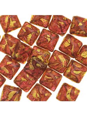 Quadro piatto, 20 mm., Corniola con foglia oro zecchino