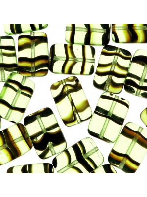 Rettangolo piatto, 15x10 mm., Verde oliva chiaro striato in marrone
