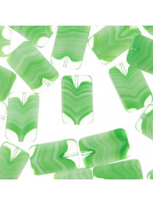 Rettangolo piatto, 19x12 mm., Verde peridot striato in bianco